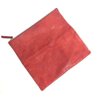 CLARE VIVIER Embossed leather pouch fold clutch